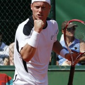 Playing his first competitive match in four months following surgery, Aussie wildcard Lleyton Hewitt displayed typical tigerishness but was ultimately defeated 7-6(2) 6-3 6-7(4) 6-3 by Slovenian Blaz Kavcic in the first round of the French Open; Getty Images