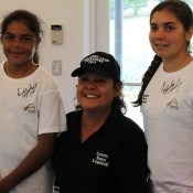 Evonne Goolagong Cawley at an autograph session with Indigenous participants at the Tennis Come and Try Day in Sydney as part of the Learn Earn Legend! initiative; Tennis Australia