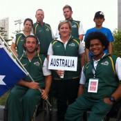 (L-R) back row: Penny Dayan (Physio), Greg Crump (Coach), Ben Weekes. Front row: Adam Kellerman, Brenda Tierney (Manager) and Keegan Oh Chee; Tennis Australia