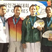 Aussies Glen Flindell and John Lui (second from right and far right) on the podium with Japanese pair, Ashino and Kajino, who they defeated 6-2 6-1 in the men's doubles final at the Asia Pacific Deaf Games; Tennis Australia