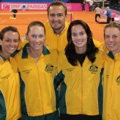 The Australian Fed Cup team (L-R Casey Dellacqua, Sam Stosur, captain David Taylor, Jarmila Gajdosova and Olivia Rogowska) during their World Group Play-off tie against Germany in Stuttgart on 21-22 April 2012; Tennis Australia