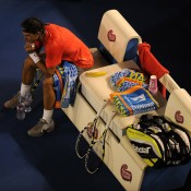"""RAFAEL NADAL: WON 2010 ROLAND GARROS , 2010 WIMBLEDON, 2010 US OPEN; quarterfinals 2011 AUSTRALIAN OPEN – Coming off a career-best season in which he scooped majors on clay, grass and cement, Nadal arrived in Melbourne looking to complete the """"Rafa Slam"""", which would have made him the first player to win four straight Grand Slam titles since Serena Williams completed her Slam in Melbourne in 2003. Yet it seemed the large amount of tennis he had played in 2010 finally caught up with him. In the early stages of his quarterfinal against compatriot David Ferrer, Nadal experienced troubles with his hamstring, having to leave the court to have it strapped and requiring ongoing medical attention during the match. He fell meekly, the 6-4 6-2 6-3 defeat denying him a shot at Australian Open glory for the second straight year – a knee injury forced his withdrawal at the same stage of the 2010 event; Getty Images"""