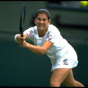 MONICA SELES: WON 1991 US OPEN, 1992 AUSTRALIAN OPEN, 1992 ROLAND GARROS; final 1992 WIMBLEDON – Seles had skipped Wimbledon in 1991, and came into the 1992 final shrouded in controversy after Navratilova complained about being distracted by Seles' grunting during a heated semifinal. Grass was never Seles preferred surface, yet she was a warm favourite against Graf, thanks to her recent Grand Slam record and the fact she had beaten he German in their last two meetings at major tournaments. Yet having been warned by the umpire for her grunting in both her quarterfinal and semifinal matches, she responded by playing the final in near silence. Graf romped to a 6-2 6-1 win against her subdued opponent, a result that would turn out to be the closest Seles ever got to a Wimbledon trophy; Getty Images