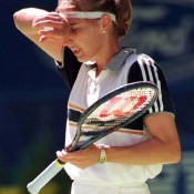 STEFFI GRAF: WON 1996 ROLAND GARROS, 1996 WIMBLEDON, 1996 US OPEN; fourth round 1997 AUSTRALIAN OPEN – Finding herself in the same position as in 1996 (beginning the year having won the last three majors of the previous season), it was a healthier Graf who arrived at the 1997 Australian Open. But not for long. Stricken by the heat wave that had engulfed Melbourne that year, Graf was unable to handle the conditions when she took to the court for her fourth round match against South African Amanda Coetzer, a player far more used to Southern Hemisphere heat. Despite leading 4-0 in the second set and receiving treatment from medical staff to keep her going, Graf was unable to finish the job, eventually falling 6-2 7-5; Getty Images