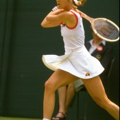CHRIS EVERT: WON 1982 US OPEN, 1982 AUSTRALIAN OPEN, 1983 ROLAND GARROS; third round 1983 WIMBLEDON – Never as comfortable on grass as on her beloved clay, American champion Chris Evert nevertheless won three Wimbledon singles titles during her career. But 1983 was not one of them. In what would eventually prove to be her only chance to hold all four major titles at once, Evert bombed in the third round. In 17 career appearances at the All England Club, Evert never fell before the semifinals except for on this occasion, going down in straight sets to Kathy Jordan. It was her first ever loss to her fellow American; Getty Images