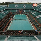 Court Phillipe Chatrier is covered after the postponement of the French Open men's singles final between Novak Djokovic and Rafael Nadal due to rain. Nadal currently leads 6-4 6-3 2-6 1-2, with play to resume at 1pm on Monday in Paris; Getty Images