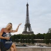 Maria Sharapova poses with the Coupe Suzanne Lenglen in the official photo shoot following her straight set victory over Sara Errani in the French Open women's final; Getty Images