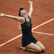 Maria Sharapova falls to her knees in elation following her 6-3 6-2 victory over Sara Errani in the French Open women's final at Roland Garros; Getty Images