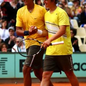 Nick Kyrgios (L) and Andrew Harris of Australia celebrate victory in the French Open boys' doubles final against Adam Pavlasek and Vaclav Safranek of the Czech Republic at Roland Garros in Paris; Getty Images