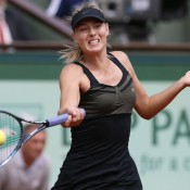 Maria Sharapova plays a forehand during the women's final at Roland Garros; Getty Images