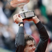 Rafael Nadal celebrates with his trophy after defeating Novak Djokovic in the French Open men's singles final at Roland Garros in Paris; Getty Images