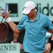 America's great hope on clay after Serena Williams, 10th seed John Isner could not suppress the irresistable Frenchman Paul-Henri Mathieu, showing his frustration in their epic second round match at Roland Garros on Court Philippe Chatrier; Getty Images