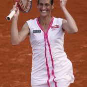 Frenchwoman Virginie Razzano celebrates after creating one of the biggest Grand Slam upsets in history against Serena Williams in the first round of the French Open at Roland Garros; Getty Images