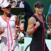 Aussie Sam Stosur is the only top player to wear Asics-branded gear - here she can be seen in the contrasting versions of the dress she has worn during the 2012 French Open; Getty Images