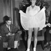 No.2: Even before the days of Twitter and Facebook there was interest in on-court fashions. In the lead-up to Wimbledon 1950, Gussie Moran showed off her outfit specially designed for her by Pierre Balmain.