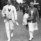 No.5: French tennis stars Rene Lacoste (left) and Suzanne Lenglen bring a touch of Parisian style to Wimbledon in 1925.