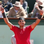 Spain's Rafael Nadal celebrates winning through to the French Open final for the seventh time in eight years, following a devastating 6-2 6-2 6-1 win over fellow Spaniard David Ferrer; Getty Images
