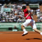 Second seed Rafael Nadal sprints for a short ball during his convincing semifinal win over compatriot David Ferrer at the French Open; Getty Images