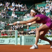 No.4 seed Petra Kvitova struggled to find her footing on the clay during her semifinal defeat to Maria Sharapova at the French Open; Getty Images