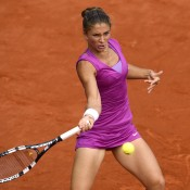Sara Errani hits a forehand during her semifinal defeat of Sam Stosur at the French Open; Getty Images