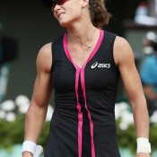 Sam Stosur was a frustrated figure throughout her three-set defeat to 21st Sara Errani in the French Open semifinals; Getty Images