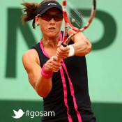 Samantha Stosur of Australia plays a backhand during her women's singles third round match against Nadia Petrova of Russia during day 6 of the French Open at Roland Garros on June 1, 2012 in Paris, France; Getty Images