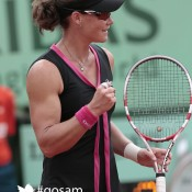Sam Stosur celebrates after defeating Nadia Petrova for just the third time in her career in their third round match of the French Open at Roland Garros in Paris; Getty Images