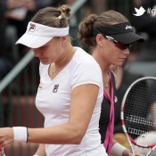 Russia's Nadia Petrova (L) and Australia's Samantha Stosur arrive for a play during their Women's Singles 3nd Round tennis match of the French Open tennis tournament at the Roland Garros stadium, on June 1, 2012 in Paris; Getty Images