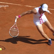 Australia's Samantha Stosur returns the ball to Britain's Elena Baltacha during their Women's Singles 1st Round tennis match of the French Open tennis tournament at the Roland Garros stadium, on May 27, 2012 in Paris; Getty Images