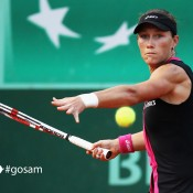 Samantha Stosur of Australia plays a forehand in her women's singles fourth round match against Sloane Stephens of USA during day 8 of the French Open at Roland Garros on June 3, 2012 in Paris, France; Getty Images