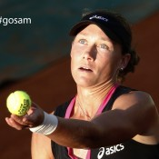 Australia's Samantha Stosur serves to US Sloane Stephens during their Women's Singles 4th Round tennis match of the French Open tennis tournament at the Roland Garros stadium, on June 3, 2012 in Paris; Getty Images