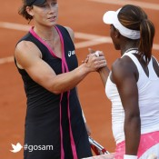 Australia's Samantha Stosur (L) shakes hands with US Sloane Stephens after winning their Women's Singles 4th Round tennis match of the French Open tennis tournament at Roland Garros on June 3, 2012 in Paris; Getty Images