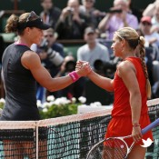 Australia's Samantha Stosur (L) shakes hands with Slovakia's Dominika Cibulkova after winning their Women's Singles Quaterfinal match of the French Open at Roland Garros on June 5, 2012 in Paris; Getty Images