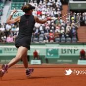Australia's Samantha Stosur hits a return to Slovakia's Dominika Cibulkova during their Women's Singles quarterfinal match of the French Open tennis tournament at Roland Garros on June 5, 2012 in Paris; Getty Images