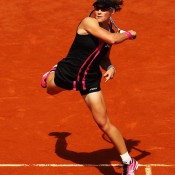 Samantha Stosur of Australia plays a forehand in her women's singles quarterfinal match against Dominika Cibulkova of Slovakia during day 10 of the French Open at Roland Garros on June 5, 2012 in Paris, France; Getty Images