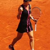 Samantha Stosur of Australia celebrates a winning point during her women's singles quarterfinal match against Dominika Cibulkova of Slovakia during day 10 of the French Open at Roland Garros on June 5, 2012 in Paris, France; Getty Images
