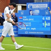 Hewitt's frustration showed as the Croatian made it four wins from five career matches against the Aussie, with Karlovic defeating Hewitt 6-3 6-2 in the first round of the ATP Queens event; Getty Images