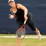 Casey Dellacqua serves during her first round match against Garbine Muguzura Blanco at the WTA event in Birmingham. Dellacqua won 6-2 3-6 6-2; Getty Images