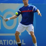 Matthew Ebden plays a forehand against Britain's Josh Goodall in the final round of qualifying at the ATP event in Easbourne. Ebden's victory sent him through to the main draw, where he lost to Belgian Steve Darcis in the first round; Getty Images