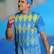 Marinko Matosevic celebrates his 4-6 6-1 6-4 victory over James Ward in the first round of the ATP Eastbourne event; Getty Images