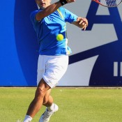 Marinko Matosevic plays a forehand during his second round match against Richard Gasquet in Eastbourne. In a career best result for the Aussie, Matosevic downed the top-seeded Frenchman 1-6 7-6(5) 7-6(3) to reach the quarterfinals; Getty Images