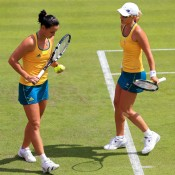 Jarmila Gajdosova (L) and Anastasia Rodionova were the first in action for Australia in the opening round of the women's doubles at London 2012, but went down in straight sets to No.6 seeds Ekaterina Makarova and Elena Vesnina of Russia; Getty Images