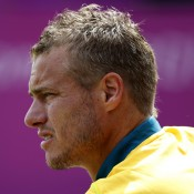 Hewitt was a picture of focus when he took on Sergiy Stakhovsky in the opening round of the men's singles at the London Olympics; Getty Images