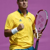 Lleyton Hewitt brought some joy to Australia with a hard-fought three-set win over Sergiy Stakhovsky of Ukraine in the first round of the men's singles at the London 2012 Olympics; Getty Images
