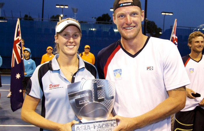 Olivia Lukaszewicz (L) of the Flagstaff Freighters and Sam Groth of the Liston Seagulls, captains of the winning teams in the 2012-2013 ATL season; Tennis Australia