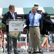Spain's Manuel Orantes, the 1975 US Champion over Jimmy Connors, receives his blue blazer after being inducted into the International Tennis Hall Of Fame July 14, 2012 in Newport, Rhode Island. Others inducted included Mike Davies and Randy Snow, both posthumously; Getty Images