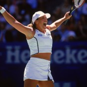 After a turbulent period in which she rebelled, got caught up in the law and left the sport, Capriati re-dedicated herself to tennis and was rewarded with her first ever Grand Slam title at the 2001 Australian Open; Getty Images