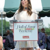 Jennifer Capriati speaks during her induction into the International Tennis Hall Of Fame July 14, 2012 in Newport, Rhode Island; Getty Images