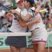 Capriati (R) won her second major title just a few months later, defeating Kim Clijsters in a dramatic 2001 French Open final 1-6 6-4 12-10; Getty Images