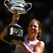 Jennifer Capriati repeated her Australian Open success in 2002, recovering from 6-4 4-0 down against Swiss Martina Hingis in brutal heat to eventually record an incredible 4-6 7-6 6-2 win, her third and final major title; Getty Images